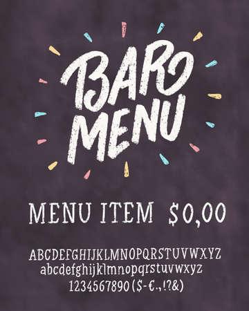 Bar menu template. Chalkboard menu template. Vector hand drawn illustration. Illustration