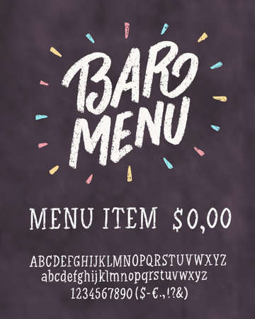 Bar menu template. Chalkboard menu template. Фото со стока