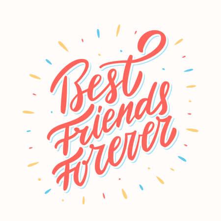 Best Friends Forever. Hand lettering. Vector hand drawn illustration. Illusztráció