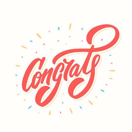 Congrats. Congratulations card. Фото со стока