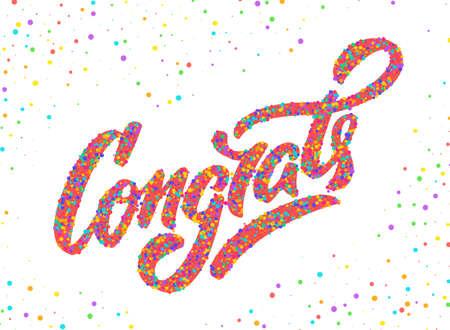 Congrats. Congratulations card. Hand lettering. Vector hand drawn illustration.