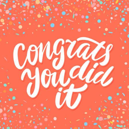 Herzlichen Glückwunsch, Sie haben es geschafft. Glückwunsch Banner. Handschrift. Vektor Hand gezeichnete Illustration.