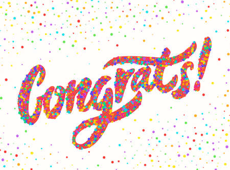Congrats. Congratulations card. Hand lettering. Vector hand drawn illustration.