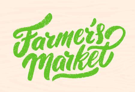 Farmers market. Wood sign. Vector hand drawn illustration.