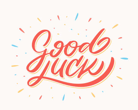 Good luck. Farewell card. Vector lettering. Vector hand drawn illustration.