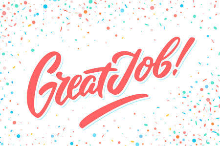 Great Job banner. Hand lettering. Vector hand drawn illustration. Standard-Bild - 126933888