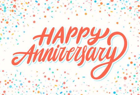 Happy Anniversary. Greeting card. Vector hand drawn illustration. Иллюстрация