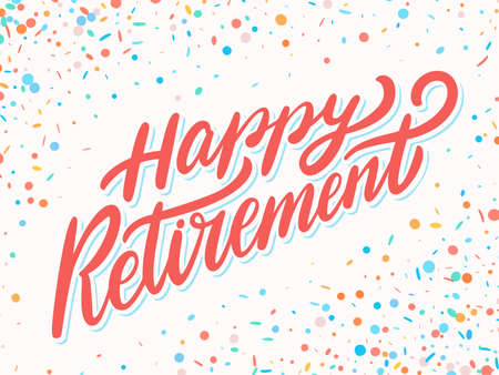 Happy retirement. Hand lettering. 免版税图像