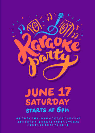 Karaoke party. Vector invitation template. Vector hand drawn illustration.
