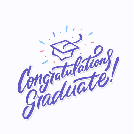 Congratulations graduate banner. Hand lettering. Vector hand drawn illustration. Banco de Imagens - 114079256