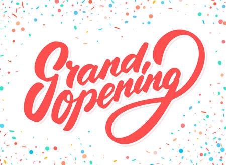 Grand opening banner. Vector lettering. Vector hand drawn illustration.
