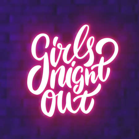 Girls night out. Bachelorette party vector banner. Vector hand drawn illustration. Banco de Imagens - 123770848