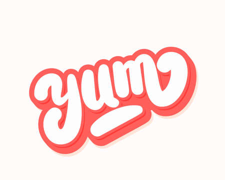 Yum. Yummy word. Vector hand drawn illustration. Иллюстрация