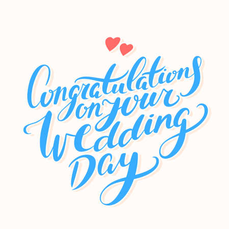 Congratulations on your wedding day. Greeting card.