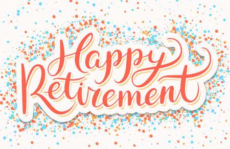 Bandera de jubilación feliz. Vector ilustración dibujada a mano.