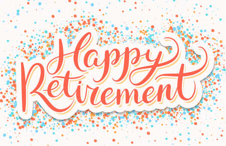 Happy Retirement banner. Vector hand drawn illustration. Ilustração