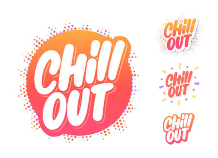Chill out. Vector lettering icons set. Vector Illustration