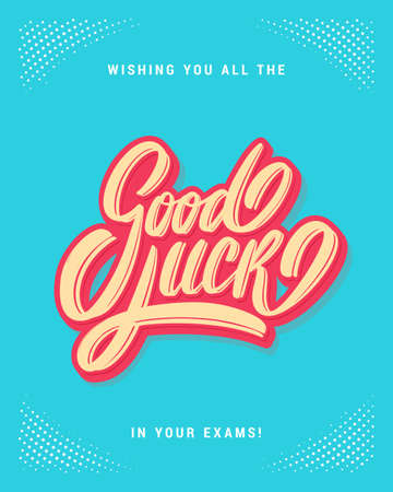 Good luck on your exams. Farewell card. Vector hand drawn illustration.