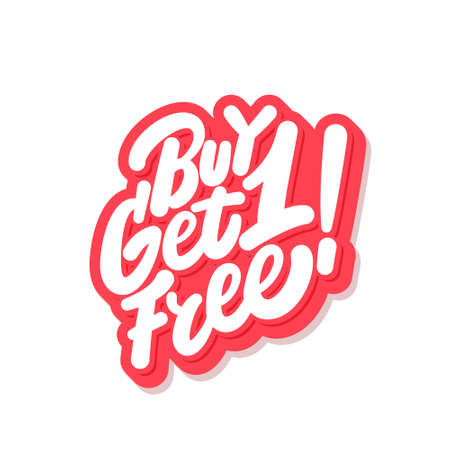 Buy one get one free. Vector icon. 向量圖像