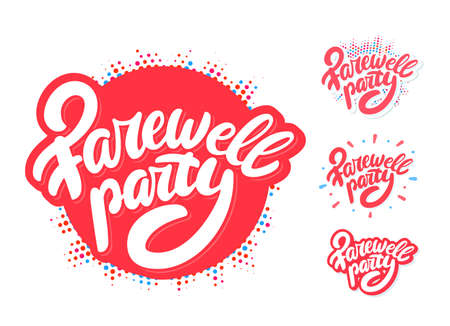 Farewell party. Vector lettering set.