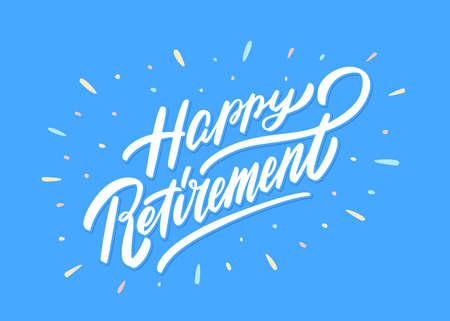 Happy Retirement banner. Vector hand drawn illustration. 向量圖像