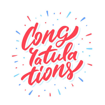 Congratulations. Greeting card lettering. Çizim