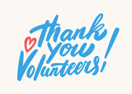 Thank you volunteers lettering.