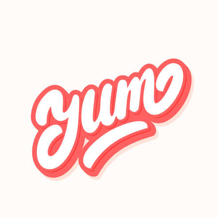 Yum. Yummy word lettering. Illustration