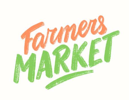 Farmers market. Vector lettering sign.