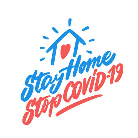 Stay home. Stop COVID-19. Vecteurs