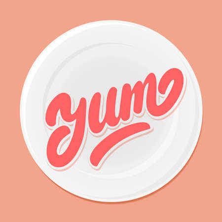 Yum. Yummy word. Vector lettering.