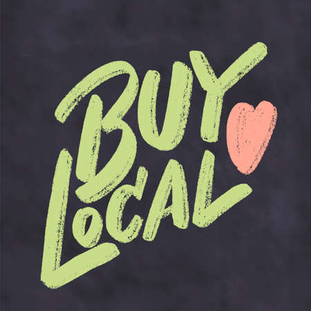 Buy local. Vector chalkboard lettering. Banque d'images - 145776210