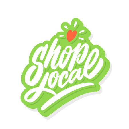 Shop local. Vector lettering. Illustration