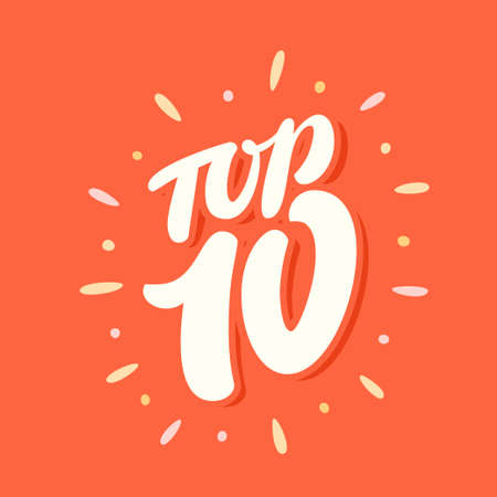 Top 10. Vector icon. Hand-drawn vector illustration.