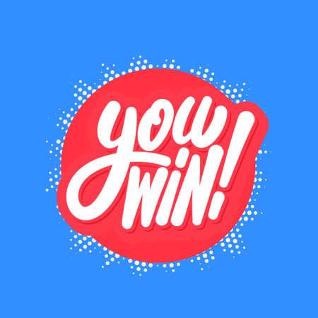 Win. Vector lettering banner. Banque d'images - 146984678