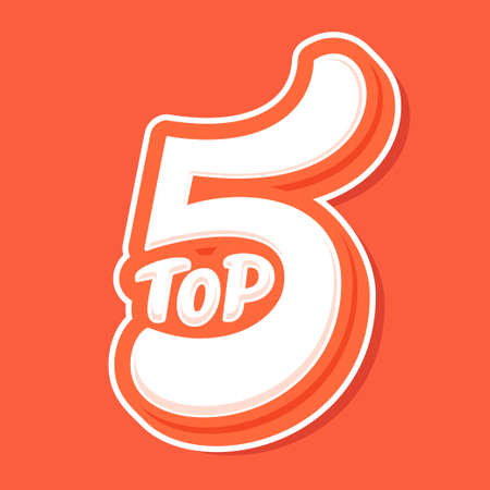 Top 5. Vector lettering. Hand drawn vector illustration.