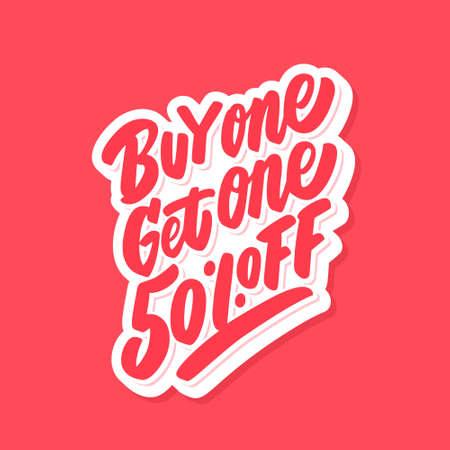 Buy one get one 50 percent off. BOGO sale.  イラスト・ベクター素材
