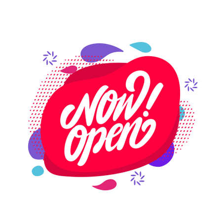 Now open. Vector lettering banner.  イラスト・ベクター素材