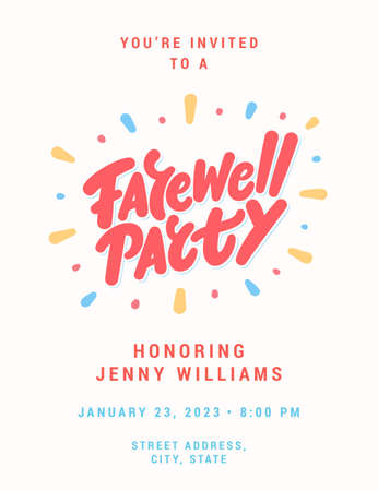 Farewell party invitation. Vector lettering.