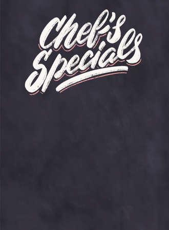 Chefs specials. Chalkboard menu.