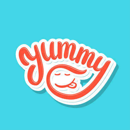 Yummy word. Vector lettering.  イラスト・ベクター素材
