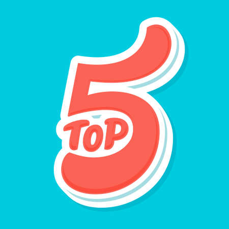 Top 5. Vector icon. Hand-drawn vector illustration.