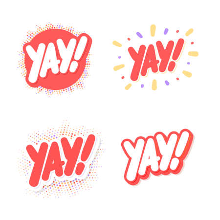 Yay. Vector lettering icons set.  イラスト・ベクター素材