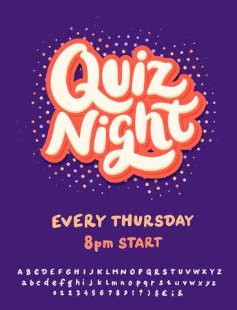 Quiz night. Vector lettering invitation.