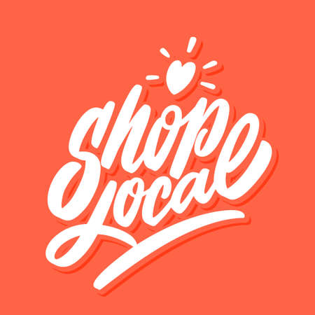 Shop local. Vector lettering.  イラスト・ベクター素材
