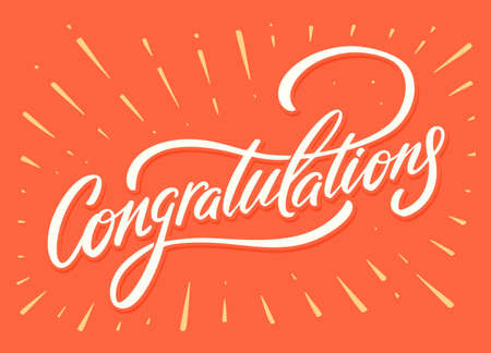 Congratulations. Greeting card. Vector lettering.  イラスト・ベクター素材