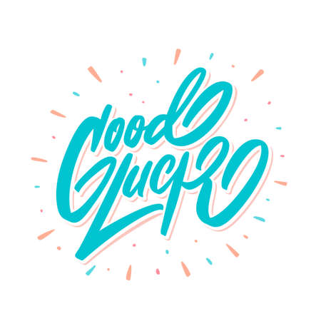Good luck. Farewell card. Vector lettering.  イラスト・ベクター素材