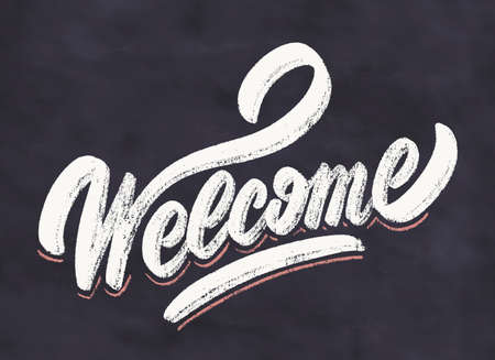 Welcome. Chalkboard vector sign.