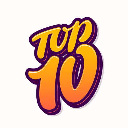 Top 10. Vector icon. Hand drawn illustration.