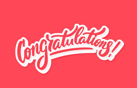 Congratulations. Greeting card. Vector lettering. Vector Illustratie